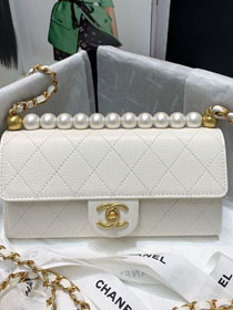 2020 CC original lambskin pearls clutch with chain AP1001 white