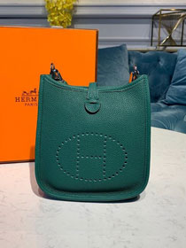 Hermes original togo leather mini evelyne tpm 17 shoulder bag E17 emerald green
