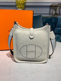 Hermes original togo leather mini evelyne tpm 17 shoulder bag E17 white