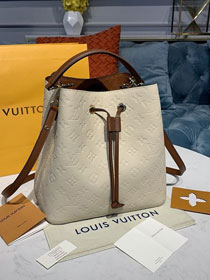 2020 louis vuitton original monogram cafskin neonoe bucket bag mm M45307 beige