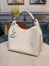 Louis vuitton original mahina leather carmel hobo bag M53188 white