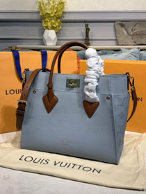 2020 louis vuitton original calfskin on my side tote bag M56078 light blue