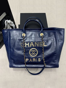 2020 CC original aged calfskin large shopping bag A66941 navy blue