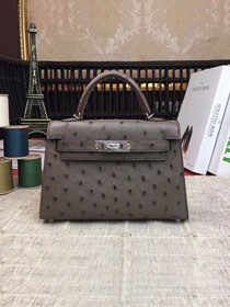 Hermes handmade genuine 100% ostrich leather kelly 19 bag K019 dark grey