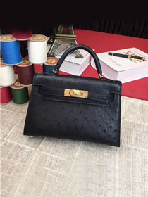Hermes handmade genuine 100% ostrich leather kelly 19 bag K019 black