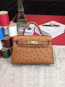 Hermes handmade genuine 100% ostrich leather kelly 19 bag K019 coffee