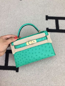 Hermes handmade genuine 100% ostrich leather kelly 19 bag K019 green