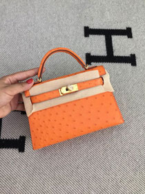 Hermes handmade genuine 100% ostrich leather kelly 19 bag K019 orange