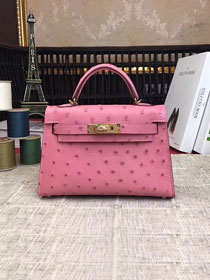 Hermes handmade genuine 100% ostrich leather kelly 19 bag K019 pink