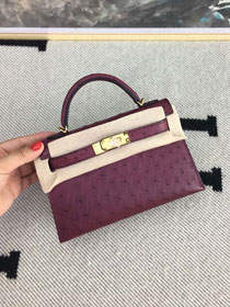 Hermes handmade genuine 100% ostrich leather kelly 19 bag K019 purple