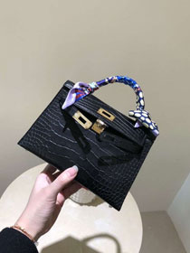 Top hermes 100% genuine crocodile leather mini kelly bag K0019 black