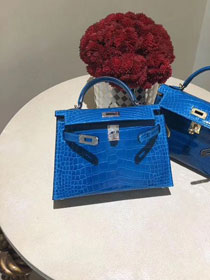 Top hermes 100% genuine crocodile leather mini kelly bag K0019 blue