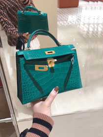 Top hermes 100% genuine crocodile leather mini kelly bag K0019 emerald