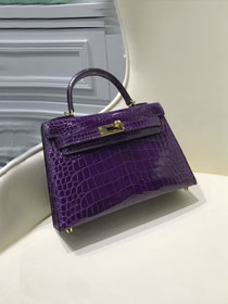 Top hermes 100% genuine crocodile leather mini kelly bag K0019 purple