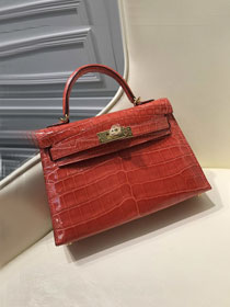 Top hermes 100% genuine crocodile leather mini kelly bag K0019 red