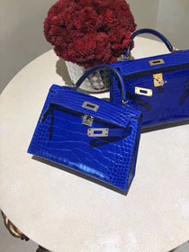 Top hermes 100% genuine crocodile leather mini kelly bag K0019 royal blue