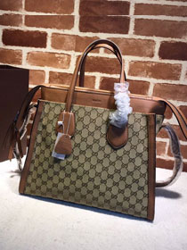 GG original canvas tote handbag 370822 brown
