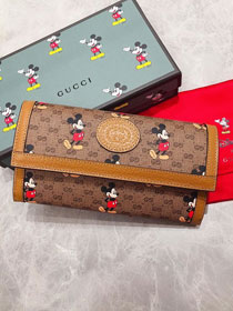 GG canvas disney long wallet 602532 brown