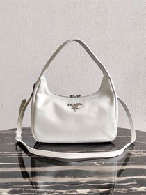 Prada original calfskin hobo bag 1BC132 white