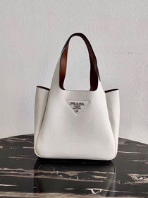 Prada original grained calfskin handbag 1BG335 white
