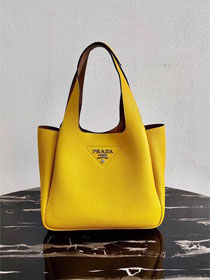 Prada original grained calfskin handbag 1BG335 yellow