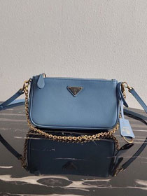 Prada original saffiano leather re-edition 2000 shoulder bag 1BH171 light blue