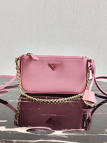Prada original saffiano leather re-edition 2000 shoulder bag 1BH171 pink