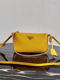 Prada original saffiano leather re-edition 2000 shoulder bag 1BH171 yellow