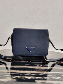 Prada original saffiano leather shoulder bag 2VD038 dark blue