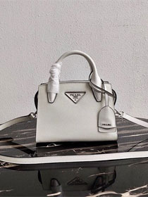 Prada original saffiano leather small monochrome bag 1BA269 white