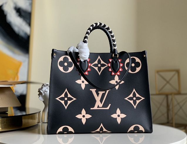 2020 Louis vuitton original monogram giant calfskin onthego gm m45373 black