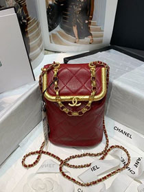 2020 CC original lambskin medium kiss-lock bag AS1887 wine red