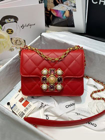 2020 CC original calfskin flap bag AS1889 red