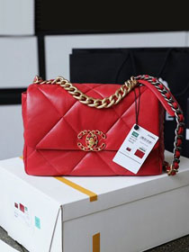 2020 CC original lambskin 19 flap bag AS1160 red