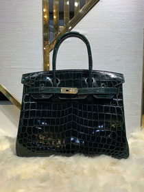 Top hermes genuine 100% crocodile leather handmade birkin 35 bag K350 blackish green