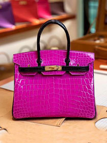 Top hermes genuine 100% crocodile leather handmade birkin 35 bag K350 black&rose red