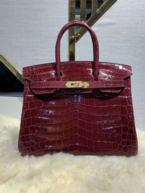 Top hermes genuine 100% crocodile leather handmade birkin 35 bag K350 bordeaux