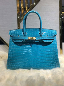 Top hermes genuine 100% crocodile leather handmade birkin 35 bag K350 sky blue