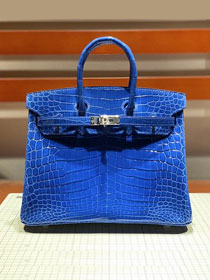 Top hermes genuine 100% crocodile leather handmade birkin 35 bag K350 blue