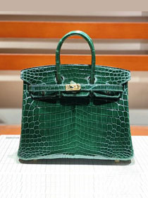 Top hermes genuine 100% crocodile leather handmade birkin 35 bag K350 emerald green