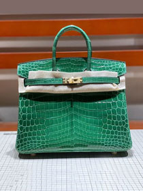Top hermes genuine 100% crocodile leather handmade birkin 35 bag K350 green