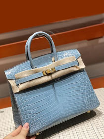 Top hermes genuine 100% crocodile leather handmade birkin 35 bag K350 light blue