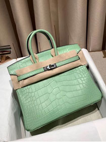 Top hermes genuine 100% crocodile leather handmade birkin 35 bag K350 light green