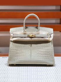 Top hermes genuine 100% crocodile leather handmade birkin 35 bag K350 light grey