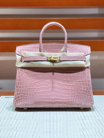 Top hermes genuine 100% crocodile leather handmade birkin 35 bag K350 light pink