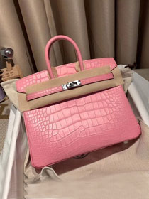 Top hermes genuine 100% crocodile leather handmade birkin 35 bag K350 pink