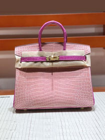 Top hermes genuine 100% crocodile leather handmade birkin 35 bag K350 pink&purple