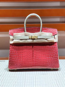 Top hermes genuine 100% crocodile leather handmade birkin 35 bag K350 red&grey