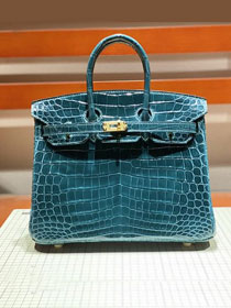 Top hermes genuine 100% crocodile leather handmade birkin 35 bag K350 royal blue
