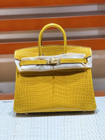 Top hermes genuine 100% crocodile leather handmade birkin 35 bag K350 yellow